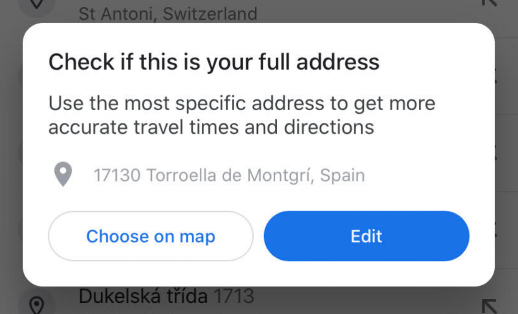 Choosing your home address from your mobile device.