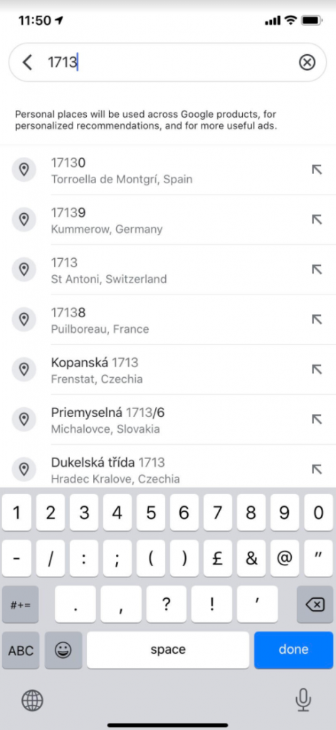 Choosing post code on your Google Maps application.