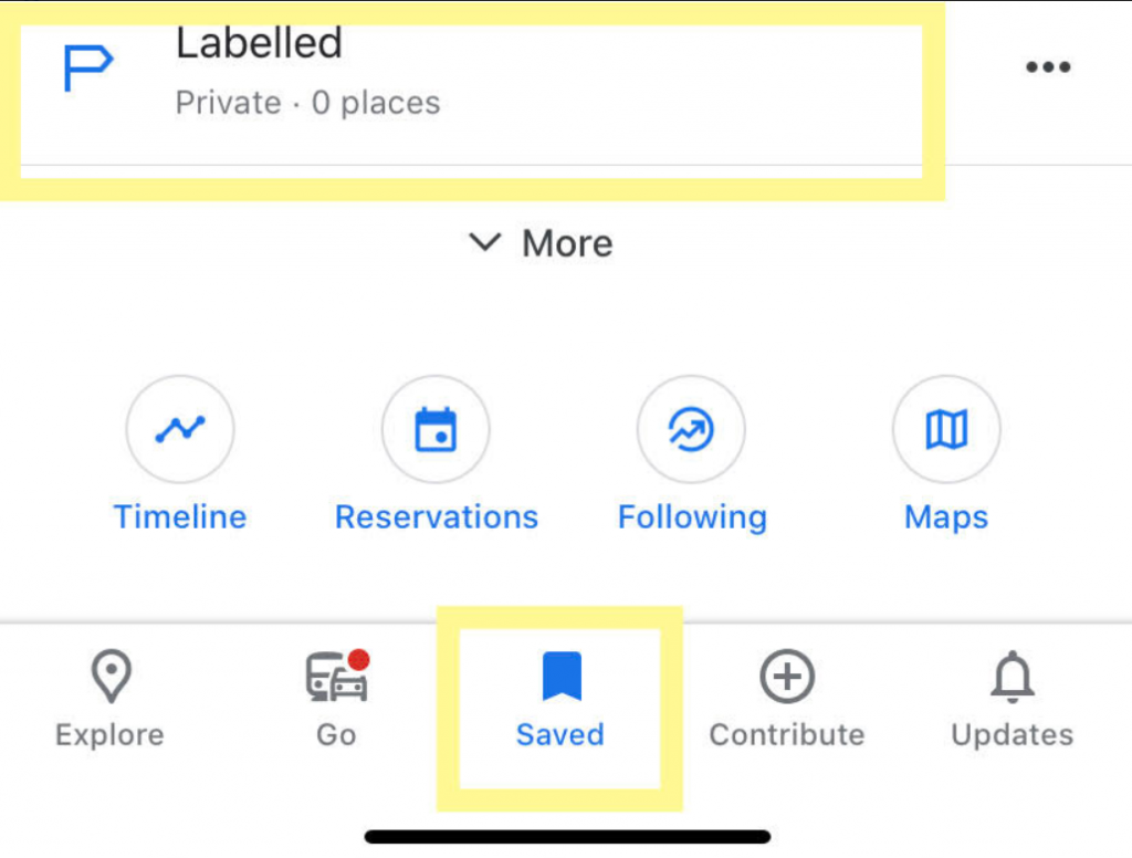 Choosing Saved button and Labelled button on your Google Maps application in order to submit your Home on your mobile device.